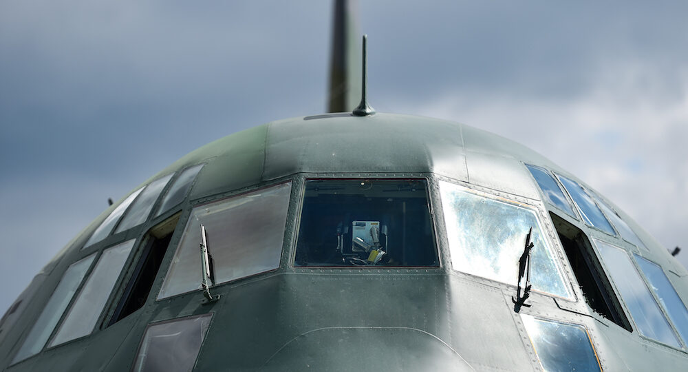 Front of a military Hercules airplane